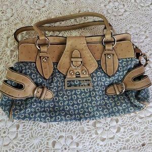 Beautiful GUESS logo bag/purse. Denim/tan leather